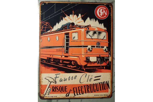 Plaque métal SNCF Électricité
