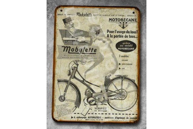 Plaque métal Motobécane Mobylette