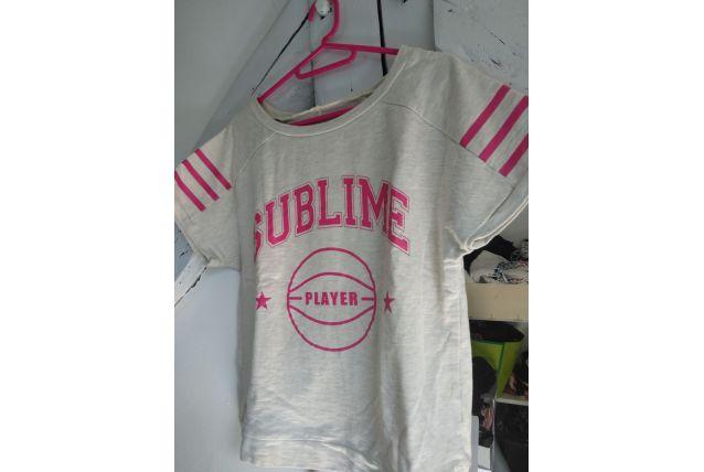 Sweat shirt t-shirt pull beige et rose vintage rétro  femme