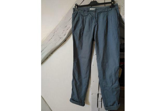 Pantalon bleu pétrole coupe carotte Chino  femme taille 36 U