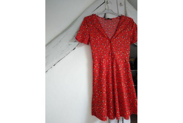 Robe rouge à imprimés fleurs liberty femme taille 38