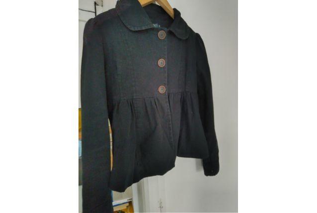 Veste blouson noir coupe paletot rétro vintage femme 38