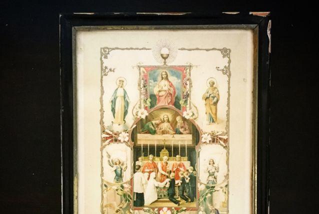 Gravure lithographique religieuse! Souvenir de communion solennelle . 1922