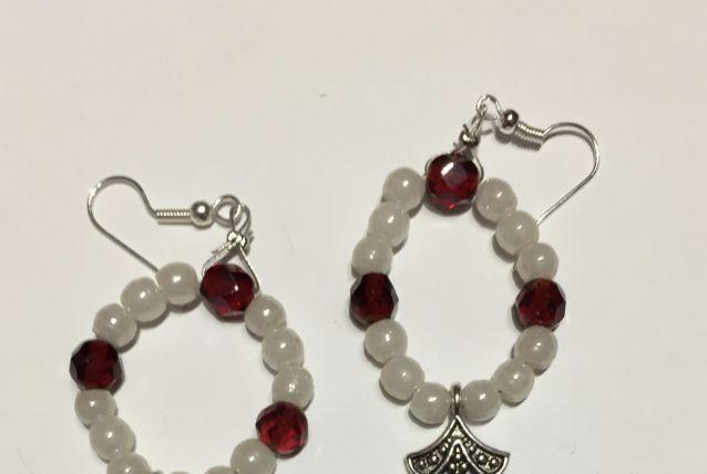 Boucles d'oreilles perles opaline