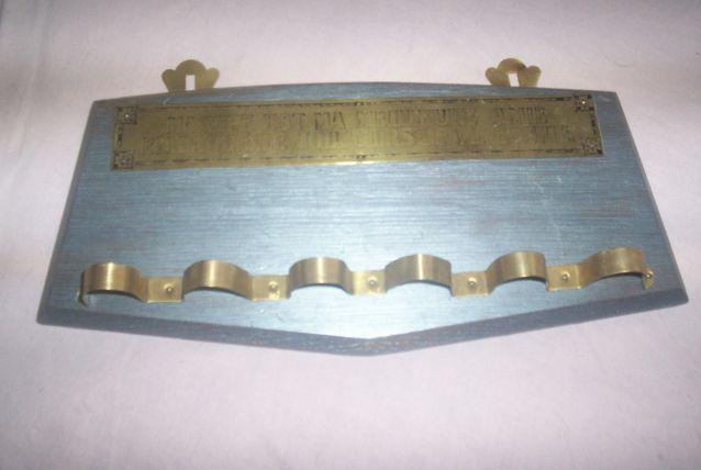 porte pipes en bois et cuivre pour 6 pipes fumeurs