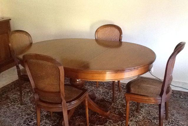 Table Merisier Roche Bobois & 4 chaises