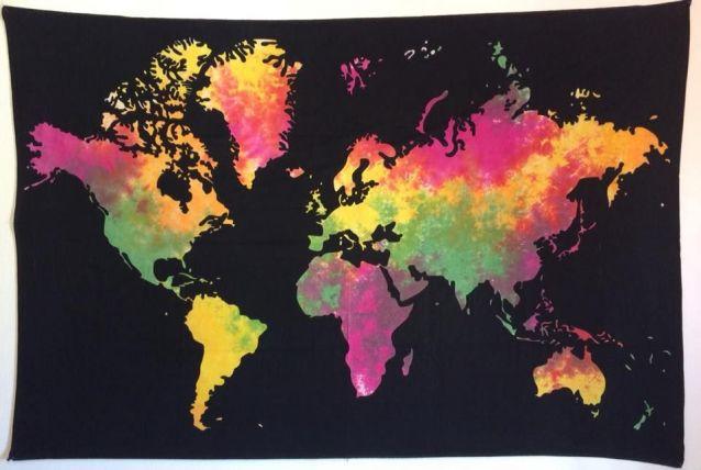 Tenture Indienne Carte du monde/Map