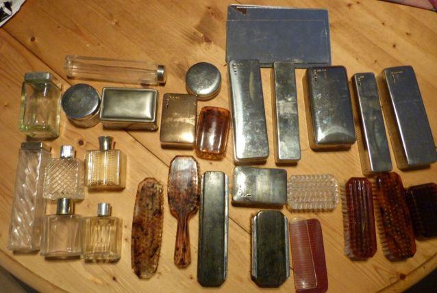 Accessoires pour trousses de toilette anciennes vanity