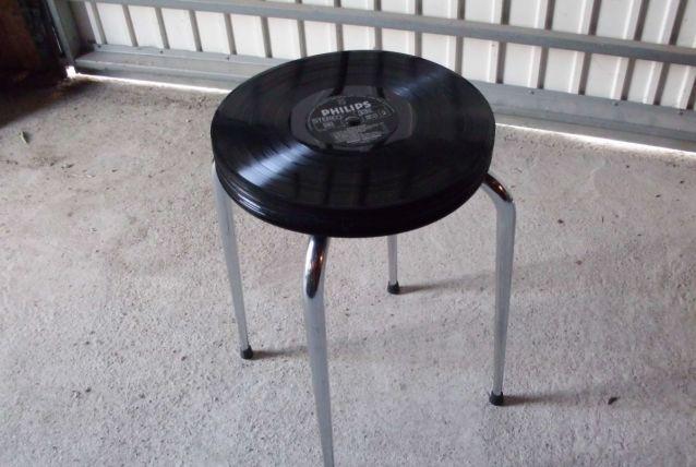 Tabouret vinyles Johnny Hallyday