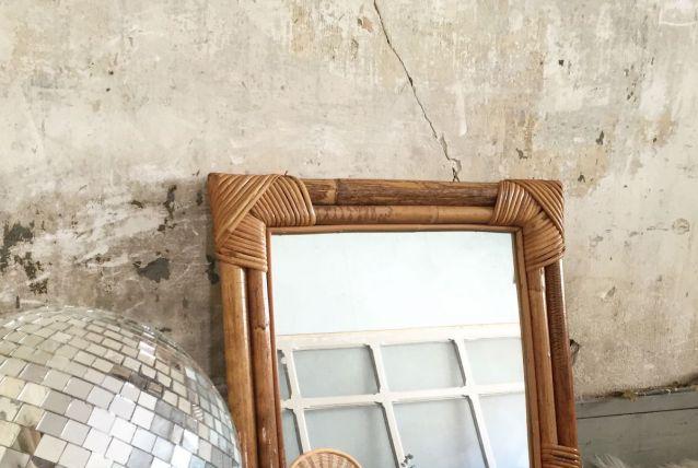Miroir en rotin et bambou