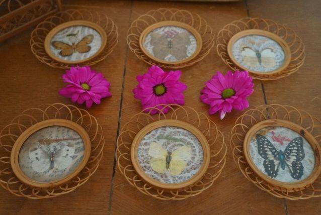 Dessous de verre en rotin papillons naturalisés