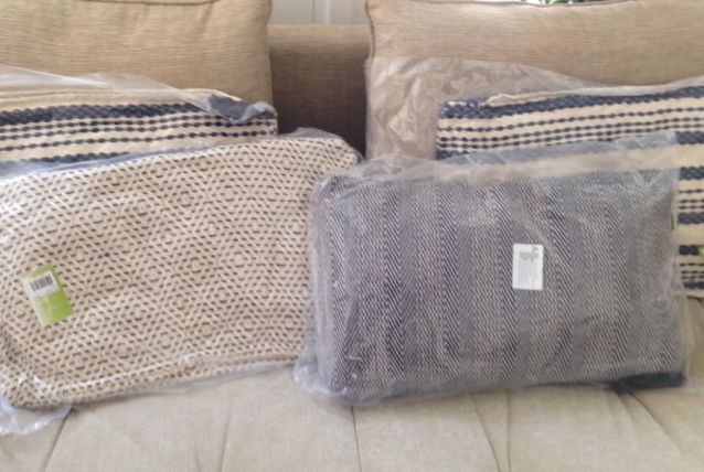 lots 3 coussins coton rectangulaires