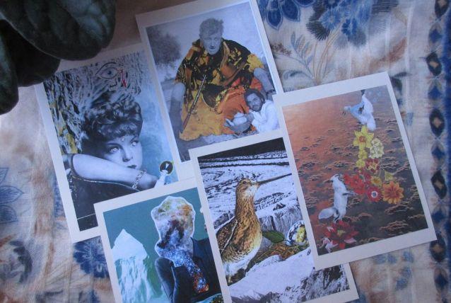 5 cartes postales collage
