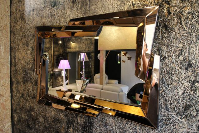 FLASH - Miroir verre couleur cuivre forme eclair