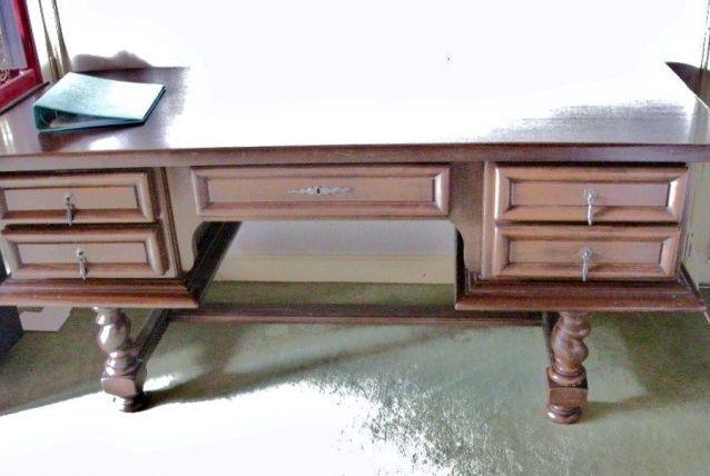Bureau ancien à tiroir acajou massif 178 x 78 cm