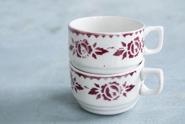 2 tasse à café anciennes motif roses