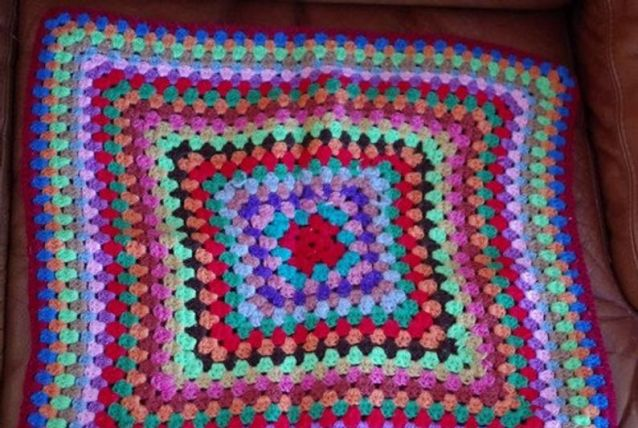 Dessus de coussin en laine - vintage 1970 - fait main - made