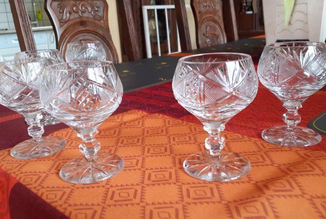6 verres cristal de bohème ciselés main