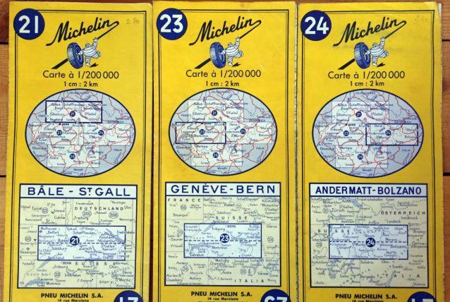 Cartes Michelin (Suisse) années 70
