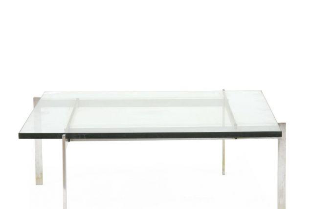 PK61-Table basse avec structure en acier, plateau en verre
