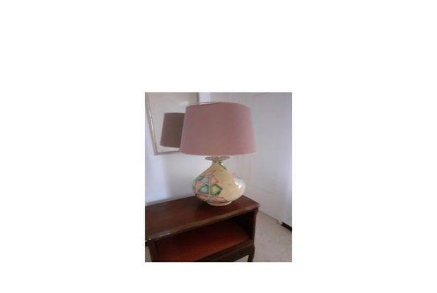 Très belle Lampe céramique, Abat-jour soie Jaune / Rose