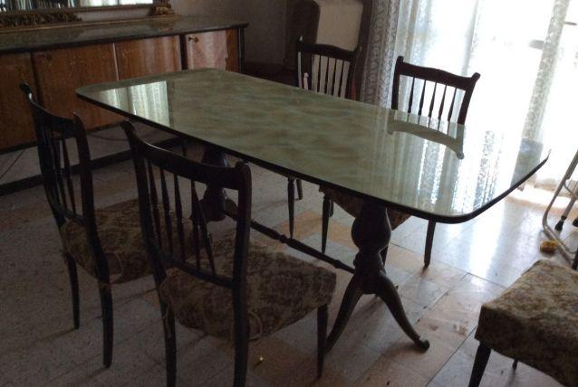 Table bois marbre italien époque 60-70