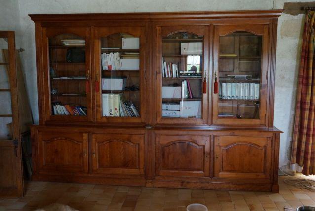meuble bibliothèque en quatre éléments merisier