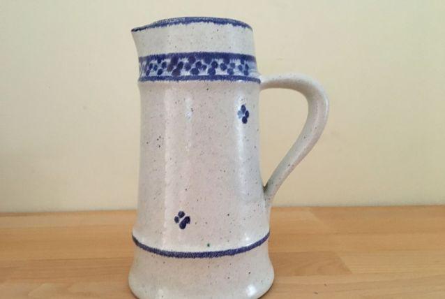 Vase Pichet Vintage en Céramique avec Anse. Couleur Blanc. D