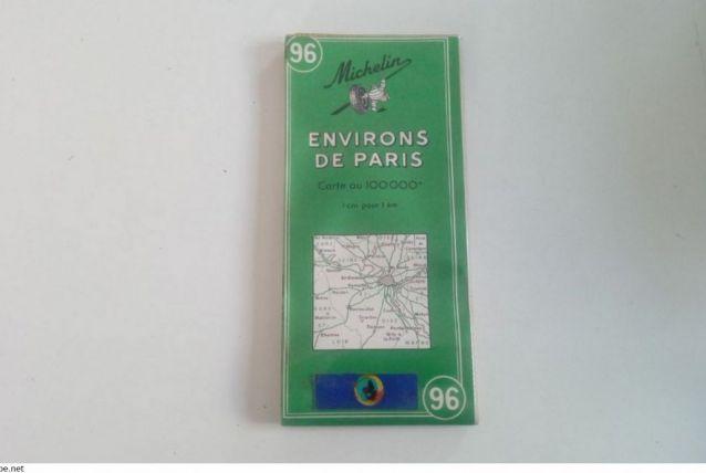 Carte routière Michelin 96 de 1963-Environs de Paris