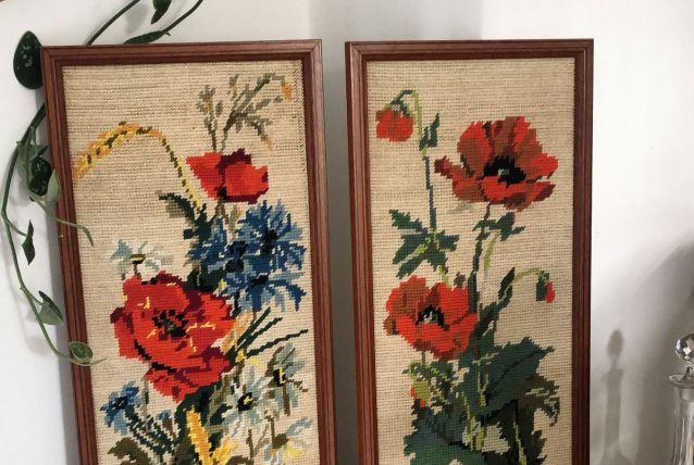 Duo cadres canevas vintage