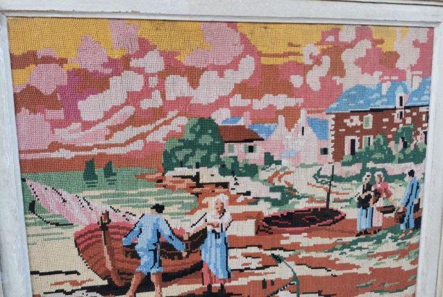 Tableau brodé vintage Les  pêcheurs